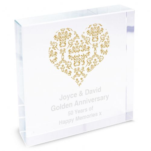 Personalised Gold Damask Heart Large Crystal Token